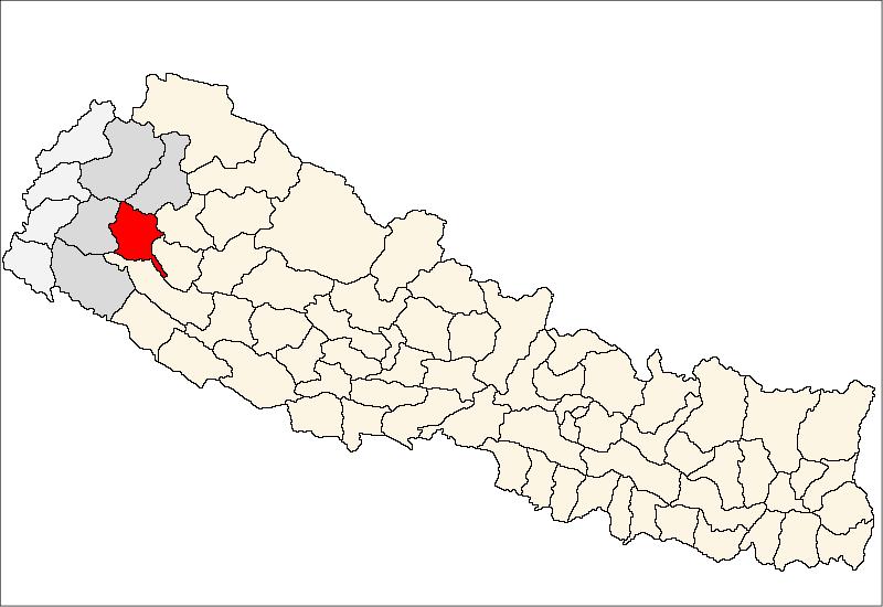 Achham district location in Nepal map