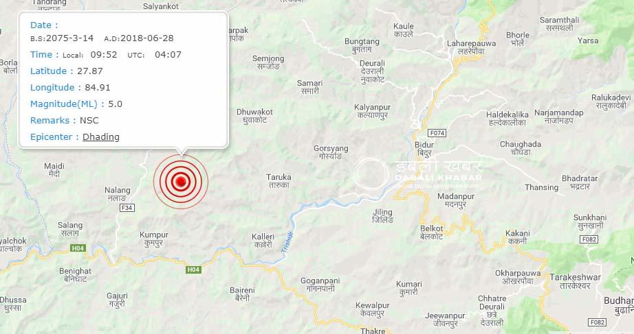 earthquake dhading 2075