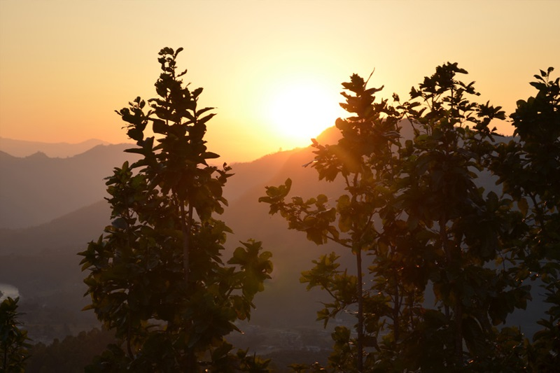 sunset view from nuwakot