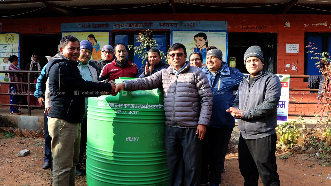 water tank distributed sangam cooperative nuwakot members