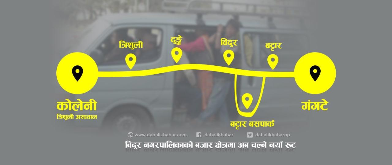 public vehicle new route map bidur municipality nuwakot