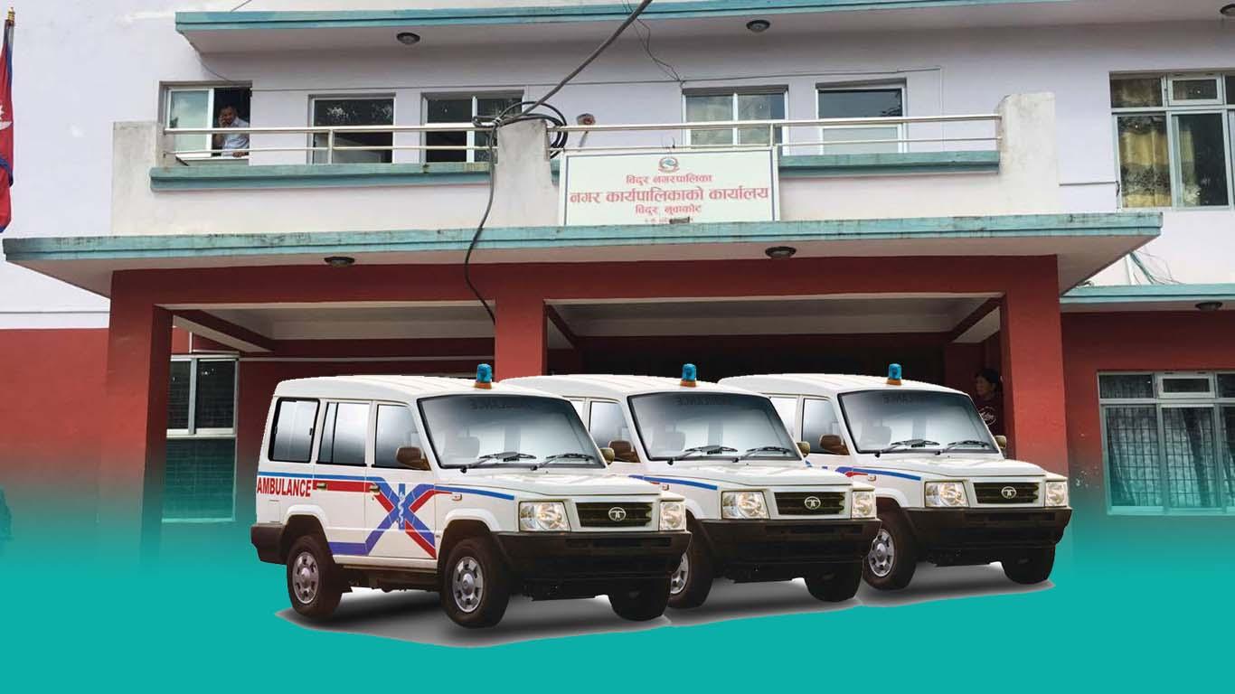 three ambulance ready corona patient bidur municipality