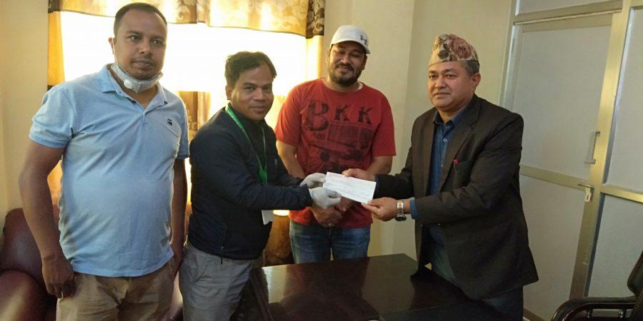 sangam cooperative cash donate to bidur municipality fund in lockdown period corona virus covid 19 nuwakot