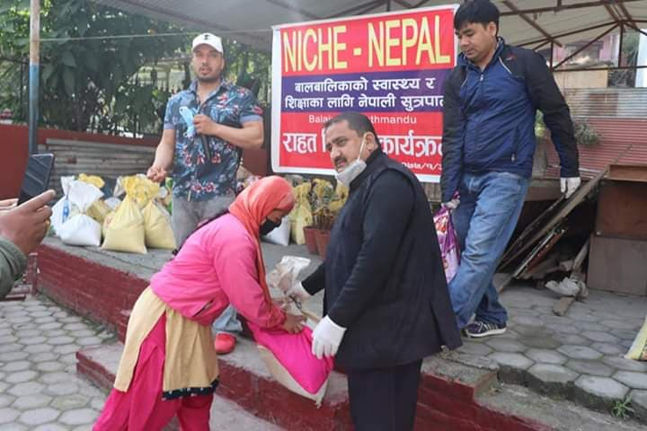 NICHE NEPAL donate food in lock down period
