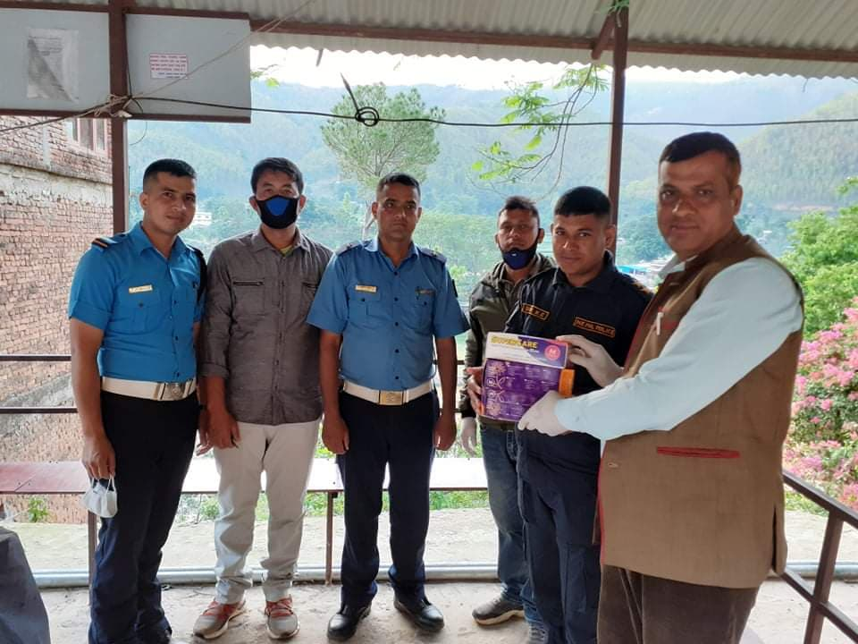 sajha party donate gloves to nepal police army police force in nuwakot coronavirus