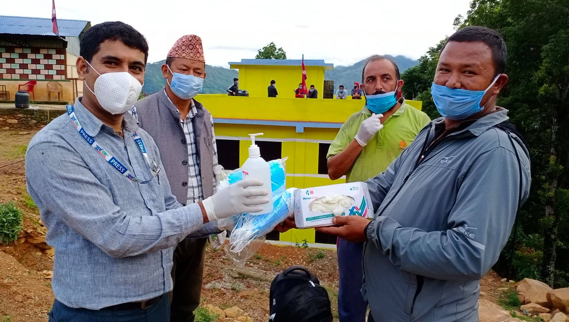 nepal insurance donate mask sanitizer and gloves to tarkeshwor rural municipality quarantine people