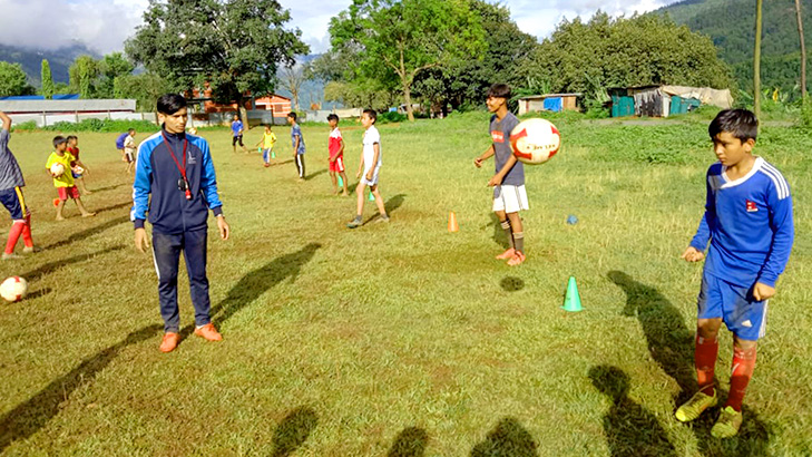free junior football training after lockdown in nuwakot