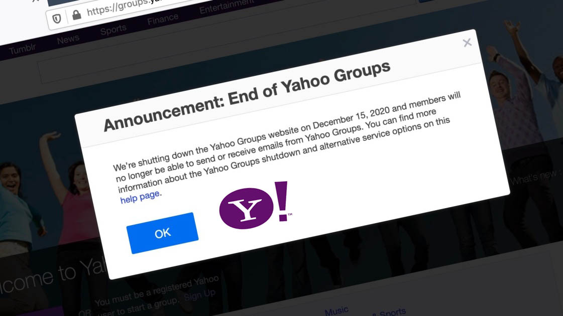 yahoo groups shutting down 2020 december
