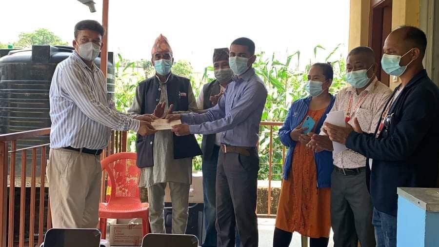 global ime laghubitta cash provided to chaughada health office in likhu rural municipality nuwakot