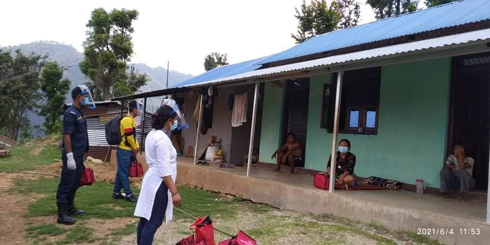 medicine distribute to infected people in kispang rural municipality