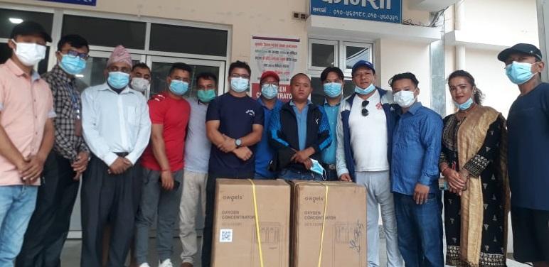 nuwakot football provided to Oxygen concentrator handover to trishuli hospital